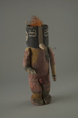 Hopi Pueblo (Native American). Kachina Doll (Kokopol, Kokopelli), late 19th century. Wood, pigment, feathers, string, 1 3/4 x 3 1/16 x 6 11/16in. (4.5 x 7.8 x 17cm). Brooklyn Museum, Museum Expedition 1904, Museum Collection Fund, 04.297.5595. Creative Commons-BY
