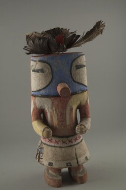 Hopi Pueblo (Native American). Kachina Doll, late 19th century. Wood, pigment, feathers, cloth, 8 1/4 x 3 1/2 x 3 1/2 in. (21 x 8.9 x 8.9 cm). Brooklyn Museum, Museum Expedition 1904, Museum Collection Fund, 04.297.5597. Creative Commons-BY
