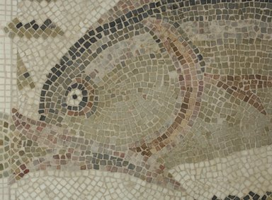 Roman. Mosaic of Dolphin Facing Left, 6th century C.E. Stone and mortar, 1 3/4 x 53 x 26 3/8 in. (4.4 x 134.6 x 67 cm). Brooklyn Museum, Museum Collection Fund, 05.17. Creative Commons-BY