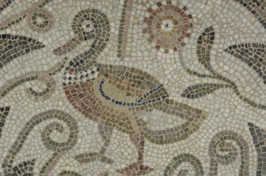 Roman. Mosaic of Duck Facing Left in Vines, 6th century C.E. Stone and mortar, 1 3/4 x 33 5/16 x 34 5/8 in. (4.4 x 84.6 x 87.9 cm). Brooklyn Museum, Museum Collection Fund, 05.21. Creative Commons-BY