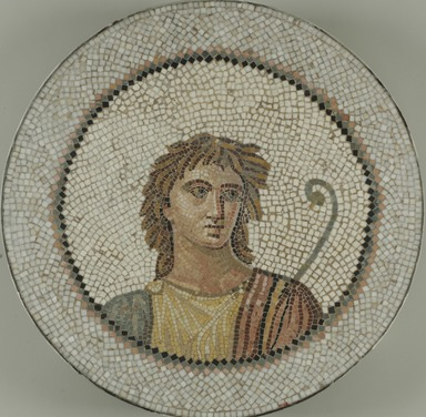 Roman. Mosaic of Male Figure in Medallion, 1st-2nd century C.E. Stone and mortar, 1 1/4 x 21 1/4 in. (3.2 x 54 cm). Brooklyn Museum, Museum Collection Fund, 05.28. Creative Commons-BY