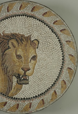 Roman. Mosaic of a Lion in a Roundel, 1st-2nd century C.E. Stone and mortar, 1 1/4 x 21 5/16 in. (3.2 x 54.1 cm). Brooklyn Museum, Museum Collection Fund, 05.32. Creative Commons-BY