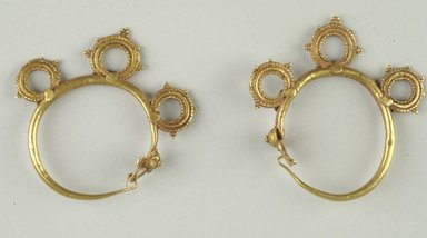 Pair of Earrings, 6th century C.E. Gold, 2 in. (5.1 cm). Brooklyn Museum, Ella C. Woodward Memorial Fund, 05.445a-b. Creative Commons-BY