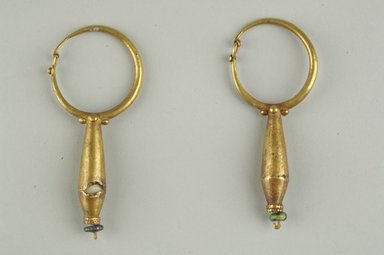 Pair of Earrings, 6th-7th century C.E. Gold, glass, 05.471.1: Length 2 11/16 in. (6.9 cm). Brooklyn Museum, Ella C. Woodward Memorial Fund, 05.471.1-.2. Creative Commons-BY