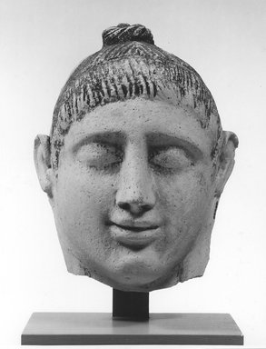 Graeco-Egyptian. Head of a Lady, late 1st century C.E. Plaster, paint, 6 1/8 x 3 13/16 x 7 1/2 in. (15.5 x 9.7 x 19 cm). Brooklyn Museum, Museum Collection Fund, 06.282. Creative Commons-BY