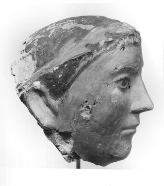 Graeco-Egyptian. Mask of a Young Man, late 1st century C.E. Plaster, painted, 5 7/8 x 5 5/16 x 6 1/8 in. (15 x 13.5 x 15.5 cm). Brooklyn Museum, Museum Collection Fund, 06.284. Creative Commons-BY
