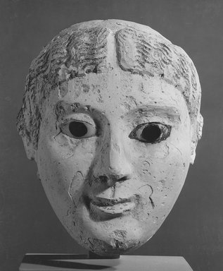 Graeco-Egyptian. Mask of a Lady, early 2nd century C.E. Plaster, painted, 6 5/16 x 5 1/16 x 6 11/16 in. (16 x 12.8 x 17 cm). Brooklyn Museum, Museum Collection Fund, 06.285. Creative Commons-BY