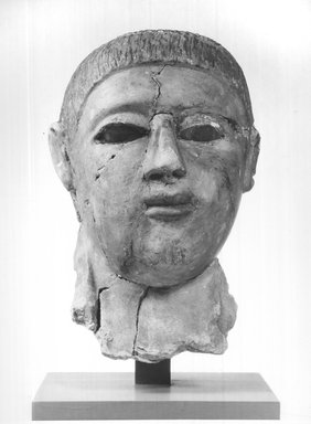 Graeco-Egyptian. Mask of a Man, late 2nd century C.E. -  early 3rd century C.E. Plaster, painted, glass, 6 11/16 x 5 11/16 x 10 1/16 in. (17 x 14.5 x 25.5 cm). Brooklyn Museum, Museum Collection Fund, 06.287. Creative Commons-BY