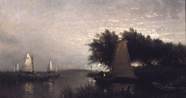 Arthur Quartley (American, 1839-1886). On Synepuxent Bay, Maryland, 1876. Oil on canvas, 13 1/16 x 24 1/8 in. (33.2 x 61.3 cm). Brooklyn Museum, Bequest of Caroline H. Polhemus, 06.309