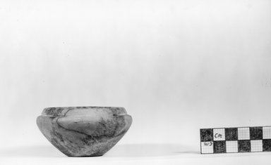 Squat Bowl. Marble, 1 9/16 x  Length 3 1/16 in. (3.9 x 7.7 cm). Brooklyn Museum, Charles Edwin Wilbour Fund, 07.447.204. Creative Commons-BY