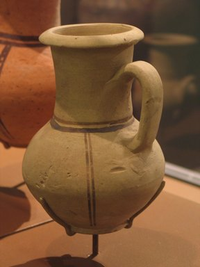 Pitcher Imitating Cypriot and Western Asiatic Jug, ca. 1479-1400 B.C.E. Pottery, painted, 6 x Diam. 4 5/16 in. (15.3 x 10.9 cm). Brooklyn Museum, Charles Edwin Wilbour Fund, 07.447.475. Creative Commons-BY