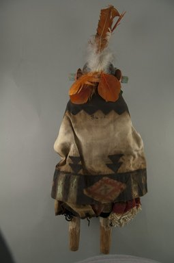 She-we-na (Zuni Pueblo) (Native American). Kachina Doll (Akjamemeh), late 19th century. Wood, feather, cotton, fur, string, 16 1/8 x 6 1/8 x 3 11/16in. (41 x 15.6 x 9.4cm). Brooklyn Museum, Museum Expedition 1907, Museum Collection Fund, 07.467.8401. Creative Commons-BY