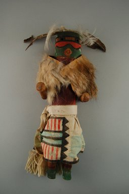 She-we-na (Zuni Pueblo) (Native American). Kachina Doll (Lassaiyapona), late 19th century. Wood, cotton, fur, feathers, 12 13/16 x 4 1/8 x 3 5/8in. (32.5 x 10.4 x 9.2cm). Brooklyn Museum, Museum Expedition 1907, Museum Collection Fund, 07.467.8402. Creative Commons-BY