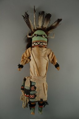 She-we-na (Zuni Pueblo) (Native American). Kachina Doll (Nawikwoh Kokoh Thlama), late 19th century. Wood, cloth, yarn, feather, 6 3/8 x 2 5/8 x 13 3/8in. (16.2 x 6.7 x 34cm). Brooklyn Museum, Museum Expedition 1907, Museum Collection Fund, 07.467.8408. Creative Commons-BY