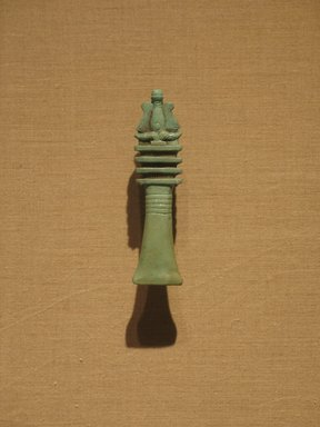 Djed Column Surmounted by Atef Crown, ca. 664-305 B.C.E. Faience, 4 1/8 x 1 in. (10.5 x 2.5 cm). Brooklyn Museum, Charles Edwin Wilbour Fund, 08.480.130. Creative Commons-BY