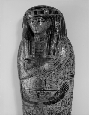 Outer Sarcophagus of the Royal Prince, Count of Thebes, Pa-seba-khai-en-ipet, ca. 1075-945 B.C.E. Wood, gessoed and painted, 37 x 30 1/4 x 83 3/8 in., 287 lb. (94 x 76.8 x 211.8 cm, 130.2kg). Brooklyn Museum, Charles Edwin Wilbour Fund, 08.480.1a-b. Creative Commons-BY