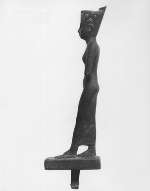 Standing Statuette of Neith, 664–332 B.C. Bronze, silver?, 8 1/8 x 1 3/8 x 2 11/16 in. (20.7 x 3.5 x 6.9 cm). Brooklyn Museum, Charles Edwin Wilbour Fund, 08.480.30. Creative Commons-BY