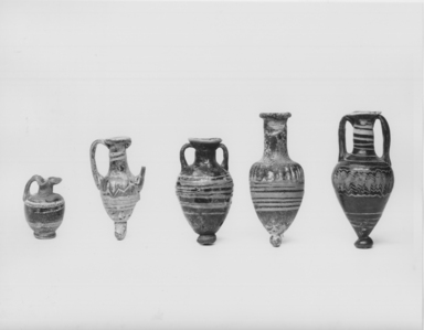 Roman. Pear Shaped Bottle, 5th century B.C.E. Glass, Greatest diam. 1 3/4 x 4 1/4 in. (4.5 x 10.8 cm) . Brooklyn Museum, Gift of Robert B. Woodward, 09.41. Creative Commons-BY