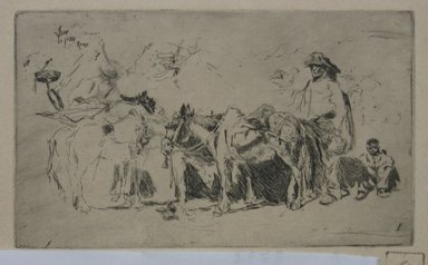 Robert Frederick Blum (American, 1857-1903). Men and Donkeys, Rome, 1880, 1880. Etching on cream-colored wove paper, sheet: 9 1/2 x 12 11/16 in. (24.1 x 32.2 cm). Brooklyn Museum, Gift of the Cincinnati Museum Association, 11.577