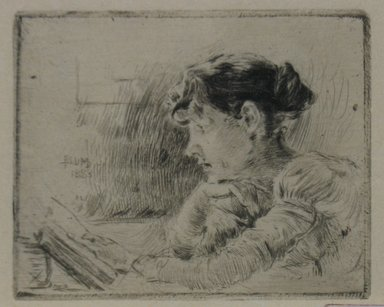 Robert Frederick Blum (American, 1857-1903). Girl Reading, 1883. Drypoint on cream-colored Japan paper, Sheet: 10 3/8 x 13 7/8 in. (26.4 x 35.2 cm). Brooklyn Museum, Gift of the Cincinnati Museum Association, 11.580