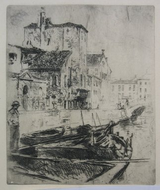 Robert Frederick Blum (American, 1857-1903). Venetian Canal and Boats, n.d. Etching on cream-colored Japan paper, Sheet: 14 1/2 x 9 9/16 in. (36.8 x 24.3 cm). Brooklyn Museum, Gift of the Cincinnati Museum Association, 11.583