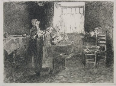 Robert Frederick Blum (American, 1857-1903). Monday Morning, Holland, ca. 1885. Etching on cream-colored Japan paper, sheet: 10 3/8 x 15 5/16 in. (26.4 x 38.9 cm). Brooklyn Museum, Gift of the Cincinnati Museum Association, 11.584