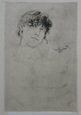 Robert Frederick Blum (American, 1857-1903). A Study Head, n.d. Etching on cream-colored Japan paper, sheet: 15 3/8 x 10 7/16 in. (39.1 x 26.5 cm). Brooklyn Museum, Gift of the Cincinnati Museum Association, 11.585