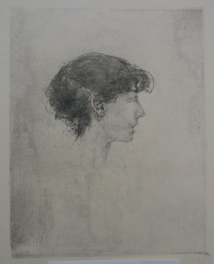 Robert Frederick Blum (American, 1857-1903). Profile Turned to the Right, n.d. Etching on cream colored wove paper, sheet: 19 x 13 in. (48.3 x 33 cm). Brooklyn Museum, Gift of the Cincinnati Museum Association, 11.586