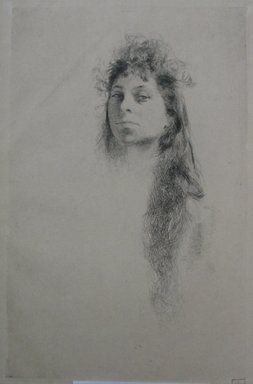 Robert Frederick Blum (American, 1857-1903). Head of a Girl with Long Hair, n.d. Etching on cream-colored wove paper, Sheet: 18 13/16 x 12 9/16 in. (47.8 x 31.9 cm). Brooklyn Museum, Gift of the Cincinnati Museum Association, 11.587