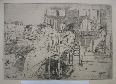 Robert Frederick Blum (American, 1857-1903). The Lace Makers, 1885. Etching on cream colored wove paper, sheet: 12 15/16 x 18 7/16 in. (32.9 x 46.8 cm). Brooklyn Museum, Gift of the Cincinnati Museum Association, 11.589