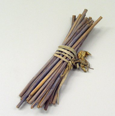 Osage (Native American). Bundle of 20 Visiting Sticks, late 19th -early 20th century. Wood, pigment, hide, membrane, 9 1/2 x 1 1/2 in.  (24.1 x 3.8 cm). Brooklyn Museum, Museum Expedition 1911, Museum Collection Fund, 11.694.8994. Creative Commons-BY