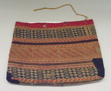 Kaw (Kanza) (Native American). Woven Bag with calico trim, late 19th-early 20th century. Wool cloth, cotton, yarn, (43.0 x 56.5 x 2.0 cm). Brooklyn Museum, Museum Expedition 1911, Museum Collection Fund, 11.694.9041. Creative Commons-BY