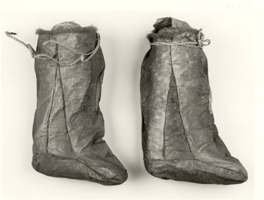 Ainu. Pair of Boots. Salmon skin Brooklyn Museum, Gift of Herman Stutzer, 12.652a-b. Creative Commons-BY