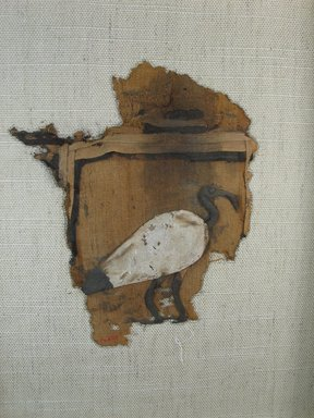 Ibis Appliqué, 30 B.C.E.–early 1st century C.E. Linen, limestone paste, 6 11/16 x 5 11/16 in. (17 x 14.4 cm). Brooklyn Museum, Gift of the Egypt Exploration Fund, 14.657. Creative Commons-BY