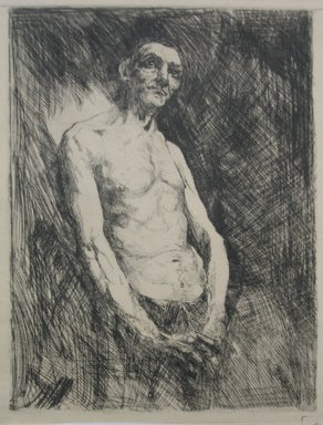 Robert Frederick Blum (American, 1857-1903). Half Length Nude Figure of a Man, n.d. Etching on cream-colored wove paper, Sheet: 13 x 9 7/16 in. (33 x 24 cm). Brooklyn Museum, Gift of the Cincinnati Museum Association, 15.318