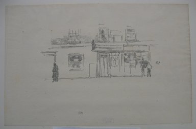 James Abbott McNeill Whistler (American, 1834-1903). Chelsea Shops, 1888. Lithograph, 8 x 12 3/16 in. (20.3 x 31 cm). Brooklyn Museum, Gift of the Rembrandt Club, 15.381