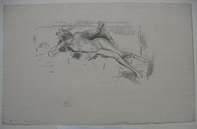 James Abbott McNeill Whistler (American, 1834-1903). Nude Model Reclining, 1893. Lithograph, 8 5/16 x 13 in. (21.1 x 33 cm). Brooklyn Museum, Gift of the Rembrandt Club, 15.392