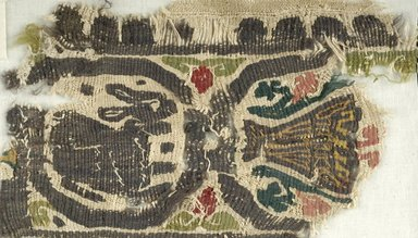 Coptic. Tapestry Weave, 5th-6th century C.E. Flax, wool, 15.434a: 4 1/4 x 7 7/8 in. (10.8 x 20 cm). Brooklyn Museum, Gift of the Egypt Exploration Fund, 15.434. Creative Commons-BY