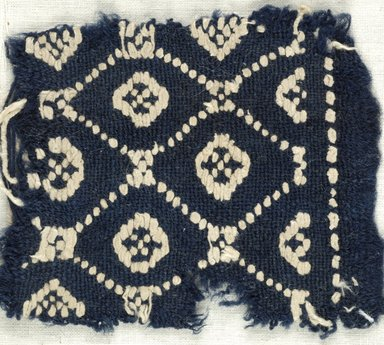Coptic. Plain Cloth With Brocade Weave, 6th century C.E. Flax, wool, 4 x 4 in. (10.2 x 10.2 cm). Brooklyn Museum, Gift of the Egypt Exploration Fund, 15.444f. Creative Commons-BY