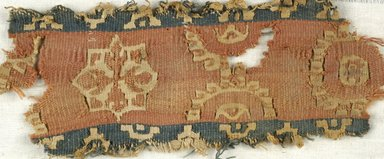 Coptic. Tapestry Weave, Fragment of Border, 5th-6th century C.E. Flax, wool, 2 9/16 x 6 1/8 in. (6.5 x 15.5 cm). Brooklyn Museum, Gift of the Egypt Exploration Fund, 15.450a. Creative Commons-BY