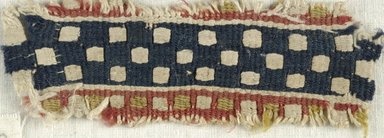 Coptic. Tapestry Weave. Flax, wool, 1 1/2 x 4 in. (3.8 x 10.2 cm). Brooklyn Museum, Gift of the Egypt Exploration Fund, 15.451b. Creative Commons-BY