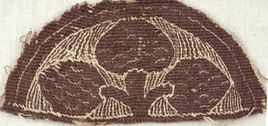 Coptic. Tapestry Weave, Ornaments from Tunic, 5th century C.E. Flax, wool, 15.467a: 2 3/4 x 5 1/2 in. (7 x 14 cm). Brooklyn Museum, Gift of the Egypt Exploration Fund, 15.467a-b. Creative Commons-BY