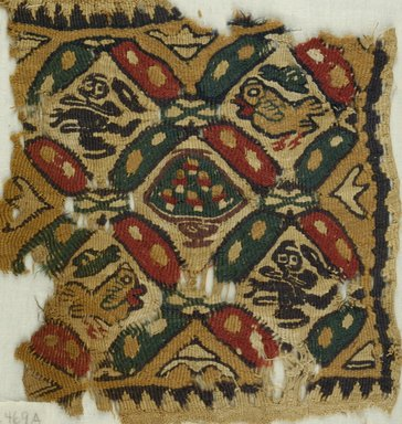 Coptic. Tapestry Weave, Fragments of Two Large Squares, 5th-6th century C.E. Flax, wool, 15.469a: 9 1/4 x 9 1/4 in. (23.5 x 23.5 cm). Brooklyn Museum, Gift of the Egypt Exploration Fund, 15.469a-b. Creative Commons-BY