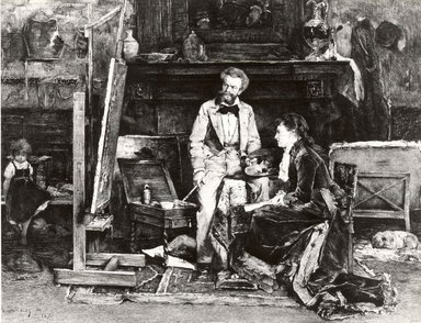 Carl Koepping (German, 1848-1914). The Portrait Painter and His Model, 1882. Etching on machine made Japan paper, 17 1/2 x 22 1/4 in. (44.5 x 56.5 cm). Brooklyn Museum, 15.64