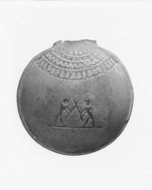 Miniature Pilgrim Flask, 656-332 B.C.E. Faience, glazed, 1 3/4 x 1 3/4 in. (4.4 x 4.5 cm). Brooklyn Museum, Gift of Evangeline Wilbour Blashfield, Theodora Wilbour, and Victor Wilbour honoring the wishes of their mother, Charlotte Beebe Wilbour, as a memorial to their father, Charles Edwin Wilbour, 16.144. Creative Commons-BY
