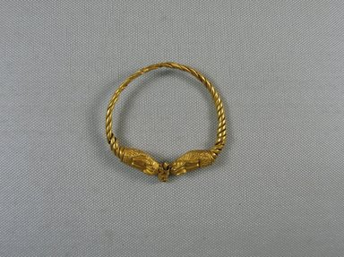 Egypto-Roman. Bracelet, 3rd century C.E. Gold, 2 5/8 x 9/16 x 2 11/16 in. (6.6 x 1.5 x 6.9 cm). Brooklyn Museum, Gift of Evangeline Wilbour Blashfield, Theodora Wilbour, and Victor Wilbour honoring the wishes of their mother, Charlotte Beebe Wilbour, as a memorial to their father, Charles Edwin Wilbour, 16.146. Creative Commons-BY