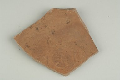 Coptic. Fragment of Samian Ware, 6th century C.E. Pottery, 3 5/8 x 3/8 x 4 in. (9.2 x 1 x 10.1 cm). Brooklyn Museum, Gift of Evangeline Wilbour Blashfield, Theodora Wilbour, and Victor Wilbour honoring the wishes of their mother, Charlotte Beebe Wilbour, as a memorial to their father, Charles Edwin Wilbour, 16.154.2. Creative Commons-BY