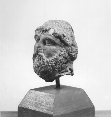 Graeco-Egyptian. Male Portrait Head, 3rd-2nd century B.C.E. Terracotta, 2 x 1 1/2 x 1 9/16 in. (5.1 x 3.8 x 3.9 cm). Brooklyn Museum, Gift of Evangeline Wilbour Blashfield, Theodora Wilbour, and Victor Wilbour honoring the wishes of their mother, Charlotte Beebe Wilbour, as a memorial to their father, Charles Edwin Wilbour, 16.234. Creative Commons-BY