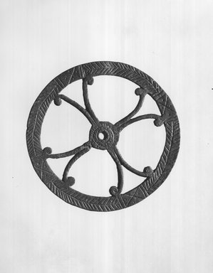 Possibly Egypto-Roman. Disk or Wheel, 1st - 3rd century C.E. Bronze, diameter: 5 3/8 in. (13.7 cm). Brooklyn Museum, Gift of Evangeline Wilbour Blashfield, Theodora Wilbour, and Victor Wilbour honoring the wishes of their mother, Charlotte Beebe Wilbour, as a memorial to their father, Charles Edwin Wilbour, 16.235. Creative Commons-BY