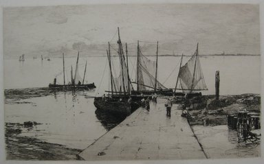 Charles Adams Platt (American, 1861-1933). Pier at Larmor, 1885. Etching on heavy machine-made Japan paper, Sheet: 17 3/8 x 22 1/2 in. (44.1 x 57.2 cm). Brooklyn Museum, Gift of Kennedy & Company, 16.444